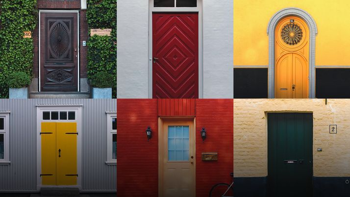 A grid of many doors, different colors and styles